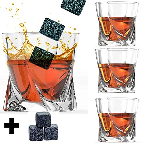 Whiskey Glass Set of 4 with Stones - Twisted Shaped Old Fashioned Whiskey Glasses and Bonus Granite Whiskey Stones - Great for Scotch and Bourbon by Willow & Everett