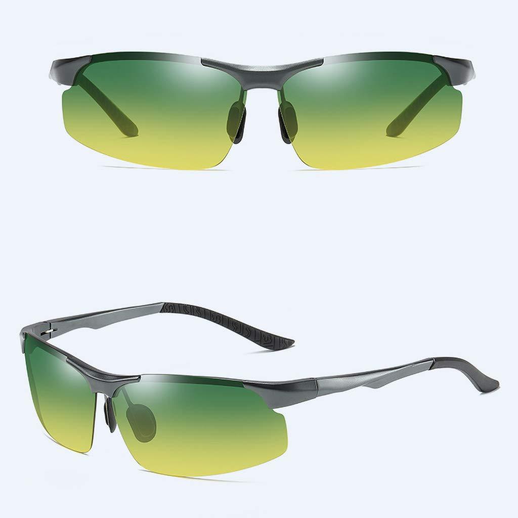 HQPCAHL Uomo Occhiali da Sole Polarizzati da Telaio in Metallo al-MG Super Leggero,Occhiali da Guida per laVisione Diurna e Notturna,Riduzione del Rischio,Anti-riflesso,UV400