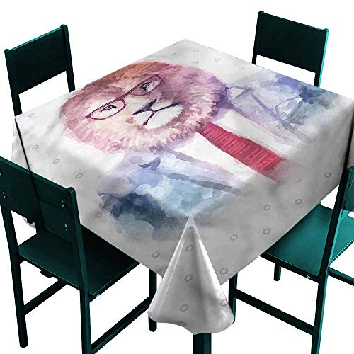 DONEECKL Oil-Proof and Leak-Proof Tablecloth Quirky Watercolor Lion in Suit Excellent Durability W60 xL60]()