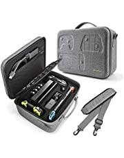 Travel Storage Case for Nintendo Switch, tomtoc Portable Nintendo Switch Protective Carrying Hard Messenger Shoulder Bag Soft Lining Large Pouch 32 Games for Switch Console & Accessories, Gray
