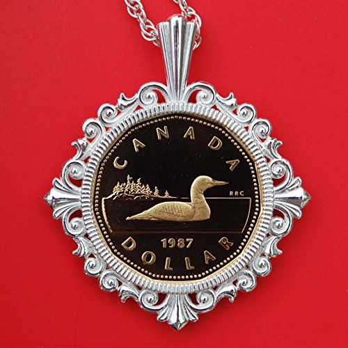1987 Gem Proof - 1987 Canada Loonie 1 Dollar Gem BU Proof Coin Solid 925 Sterling Silver Necklace NEW