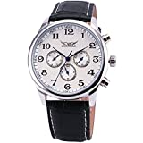 Noble Retro 6 Hands 3 Sub-dial Men's Self-wind Mechanical Wrist Watch Genuine Leather Strap White