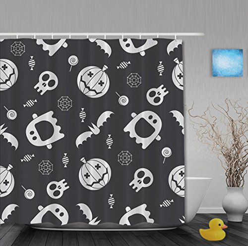Halloween Accessories London (Personlized Halloween Home Decor Pumpkins Skull Bathroom Shower Curtains Waterproof Mildewproof Polyester Fabric Black And White 36