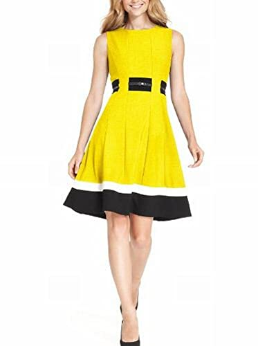 Calvin Klein Womens Petites Colorblock Sleeveless Wear to Work Dress