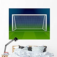 Wallmonkeys Soccer Goalpost with Net Wall Mural Peel and Stick Graphic (60 in W x 45 in H) WM367464