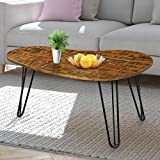 Natural Wood Coffee Tables for Sale Olee Sleep VC18TB07S Wood Hairpin Steel Leg Coffee Table Rustic Brown