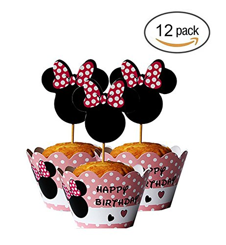 Mickey Mouse Minnie Cupcake Toppers+ Wrappers Party Pack for 12 Cupcakes -
