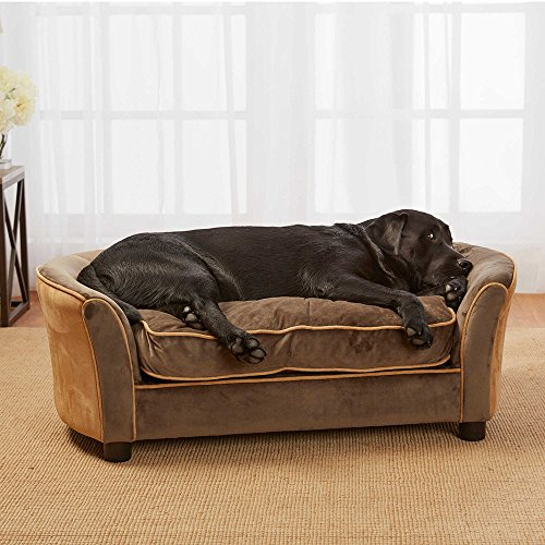 Enchanted Home Upholstered Ultra Plush Panache Pet Sofa in Brown by Enchanted Home