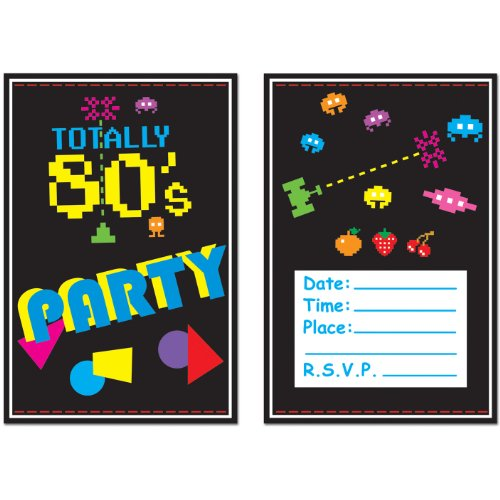 Beistle 58262 8-Pack 80's Invitations, 4-Inch by 5-1/2-Inch -