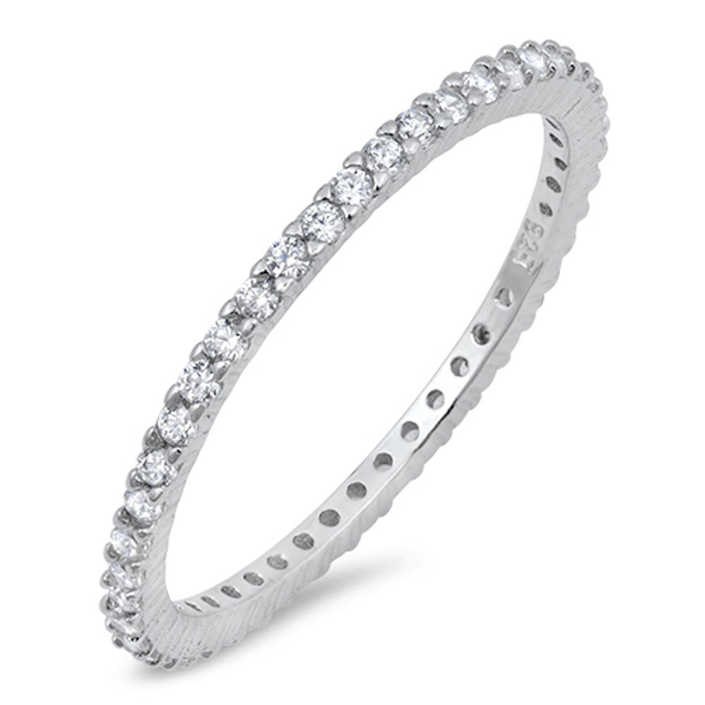 Sterling Silver Eternity Band Clear CZ Thin 2mm Ring Stackable Size 3