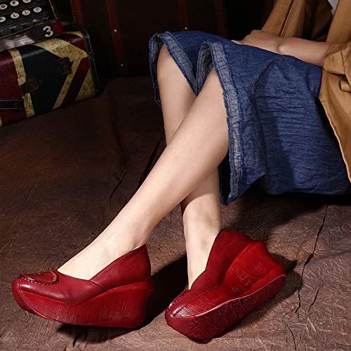 38 Plate Rouge Eu Jane Femmes Qiusa Slip Chaussures Cuir Décontracté Vintage On Rouge coloré Mary forme Taille En Fa155Oxw