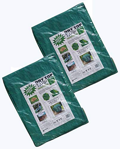 Foremost Dry Top 50066 6'x6' Green Drawstring 7 Mil Poly Tarp - Pack of 2