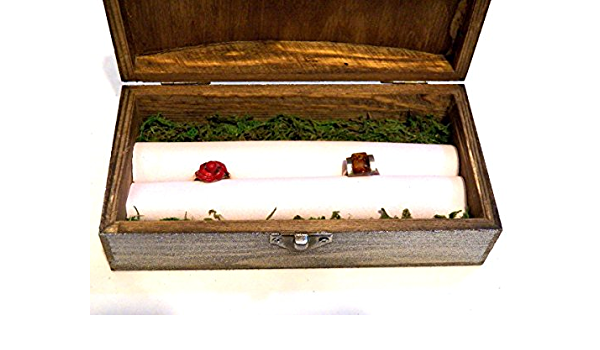 Caja Anillo Almohadilla Alternativa, Sostenedor Anillos Polipiel, Caja Anillo Boda, Caja Para Dos Anillos, Caja Anillo Madera, Caja Anillo Musgo: Amazon.es: Handmade