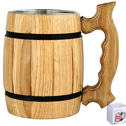 Old Tavern Beer - Wooden Barrel Shaped Beer Mug 20 oz for Men. Handmade Coffee Drinking Cup. Renaissance Wood Stein. Viking Tankard with Handle. Fathers Day, Birthday Cool Gift Box. Funny Anniversary Accessories