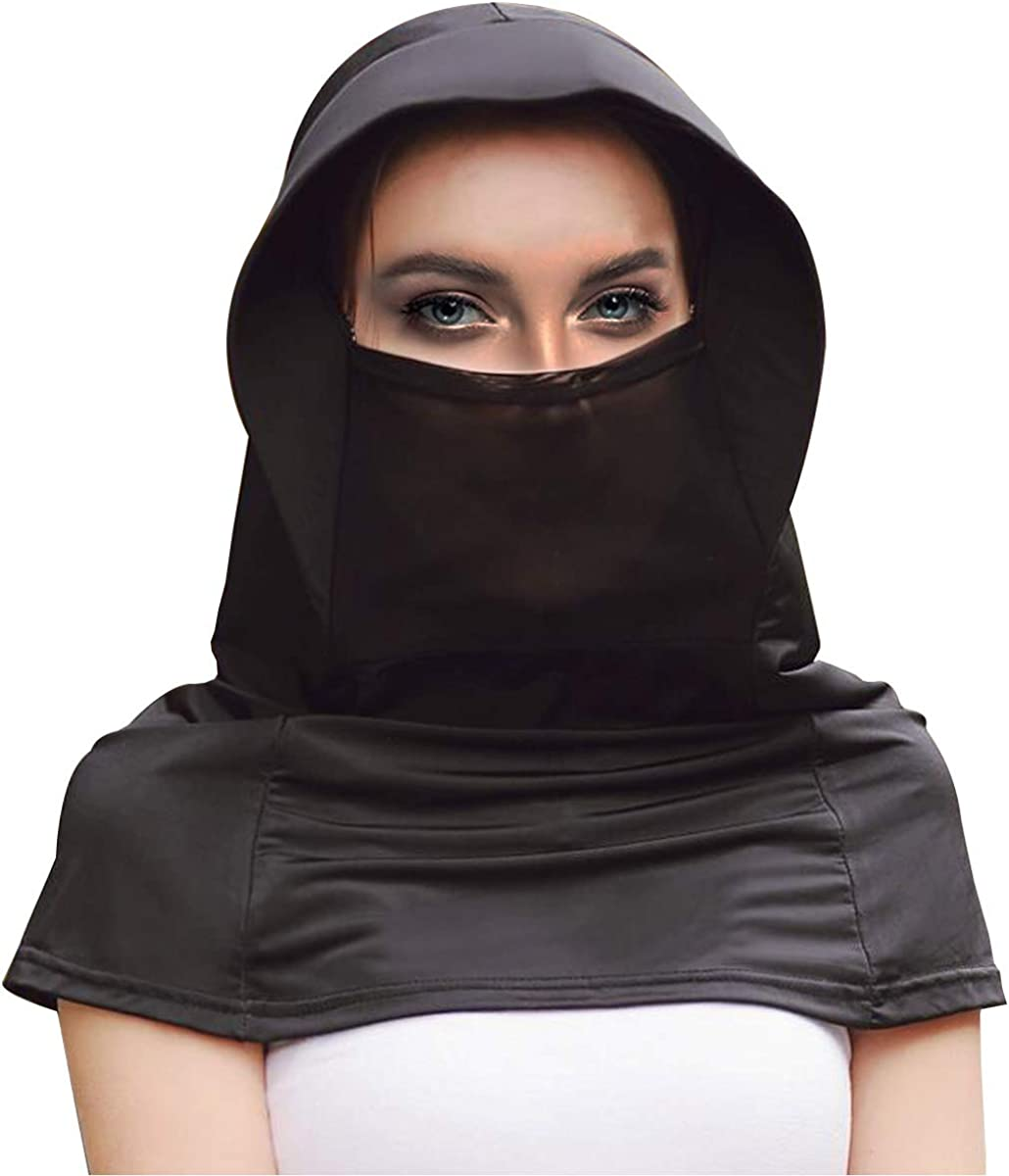 Women Face Scarf Chiffon Dust Proof Face Covers Wrap Neck Gaiter Breathable Sun Mask UV Protection Black
