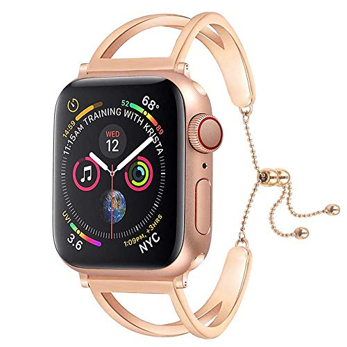 (Sundo Compatible Iwatch Band 38/40mm 42/44mm Newest Released Unique Jewelry Style Classic Cuff Bracelet Stainless Steel Replacement Strap for Women Girls Men Series 4 3 2 1(Rose Gold, 38mm/40mm))