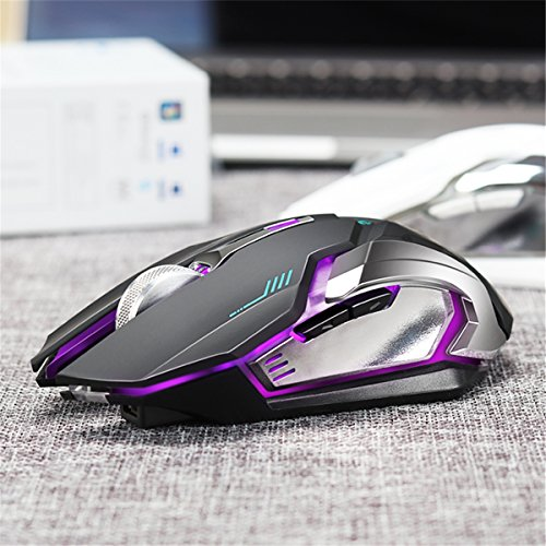 VEGCOO C9s (Updated Version) Wireless Gaming Mouse, Rechargeable Silent Click Mice with Nano Receiver, Changing Breathing Backlit, 3 Adjustable DPI Up to 2400 for Gamer, Laptop, PC, Macbook (Black) by VEGCOO (Image #2)