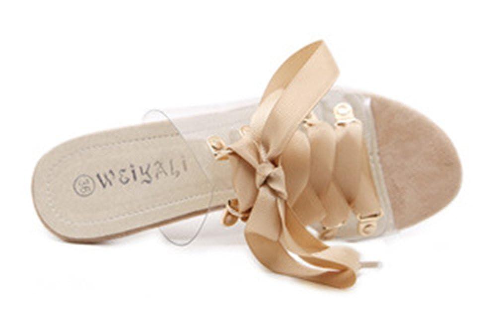 Easemax Damen Modisch Peep Toe Schnürung High Heels Slip-On Slip-On Slip-On Sandalen Pantoffeln 9b1f7e