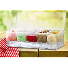 Kleeger Chilled Condiment Server With Lid: 5 Removable Compartments, Bottom Fills With Ice