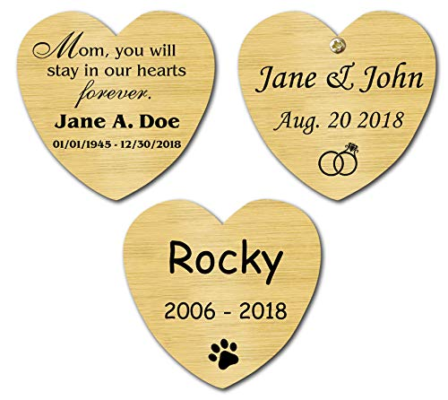 (Satin Brass Heart Shape Nameplate, Memorial Plate, Personalized Custom Laser Engraved Label Art Tag for Frames, Pet Loved Ones Made to Order Made in USA 1-3/8