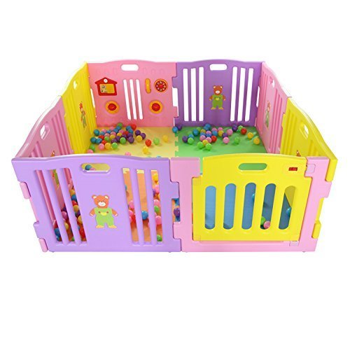 MCC Pink Plastic Baby Playpen with Activity panel 8 Sides by MCC