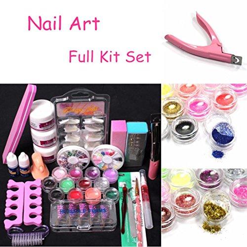 Fullfun 24 Acrylic Powder Liquid Brush /Glitter /Buffer Block /Sanding File /Cuticle Pusher Nail Art Tips Set Kit - Buffer Liquid