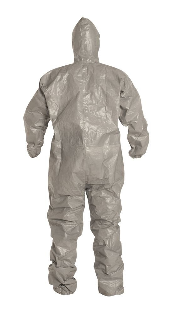 Dupont Tychem F SafeSPEC Coverall with Respirator Fit Hood, Elastic Wrists and Ankles, Taped Seam, Storm Flap, Grey [Price is per Each] (X-Large) by Tychem (Image #4)
