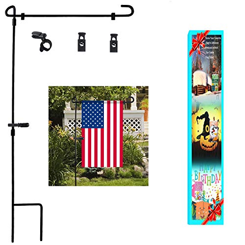 Metal Garden Flag Stand - Garden Flag Stand, Premium Garden Flag Pole Holder Metal Wrought Iron Powder-Coated Weather-Proof Paint 36.5