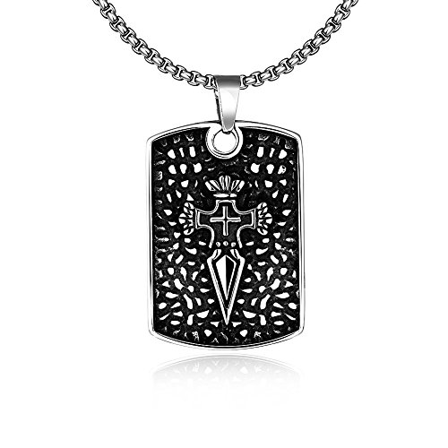 Jewelry Treestand - The Starry Night Jesus Christianism Ancient Chunky Cross Shape Pendant Titanium Steel Males Necklace