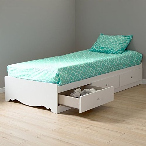 South Shore Crystal Mates Bed with 3 Drawers, Twin 39-inch, Pure White