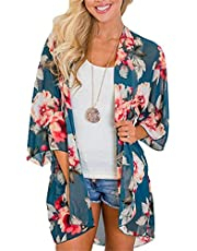 TBONTB Womens Cardigan Floral Chiffon Blouse Kimono Cover Up