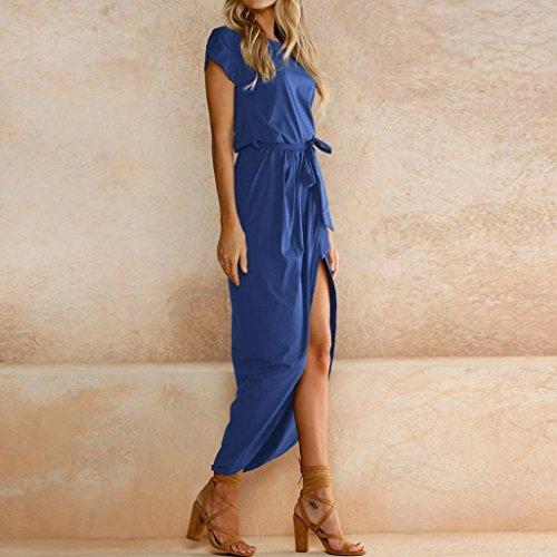 HARRYSTORE Kurzarm Split Split Kurzarm Slim Dress Damen Boho Long Maxikleid Abend Party Strand Kleider Sommerkleid Blau rgsc4e