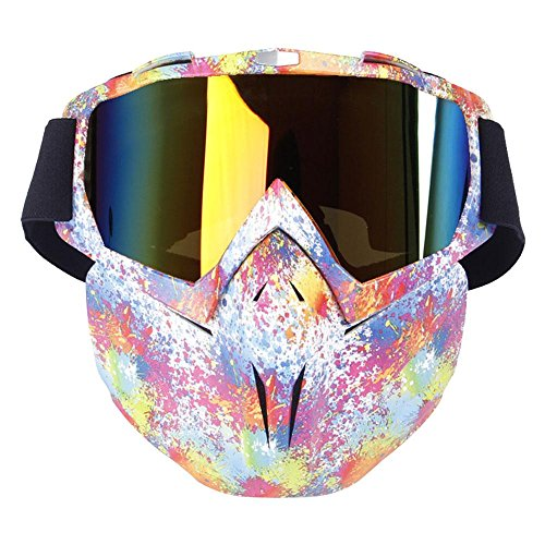 KOBWA Motorcycle Goggles Mask, Windproof Motorcycle Goggles with Mask, Protect Padding Helmet Sunglasses for Skiing, Riding, Outdoor Activities (Rainbow)