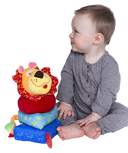 Plush Ring Stacker - Nuby Build a Buddy Plush Stacking Toy, Lion