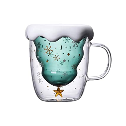 Buy Cute Mugs Christmas Coffee Mug Double Walled Insulated Glass Cup With Handle Perfect For Espresso Tea Bag Beverage Best Christmas Gift For Women Men Kid 10 Oz Online At Low Prices