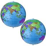 Pangda 16 Inch Inflatable Globe Inflatable World Globe Beach Ball Globe for Educational Beach Playing, Colorful (2)