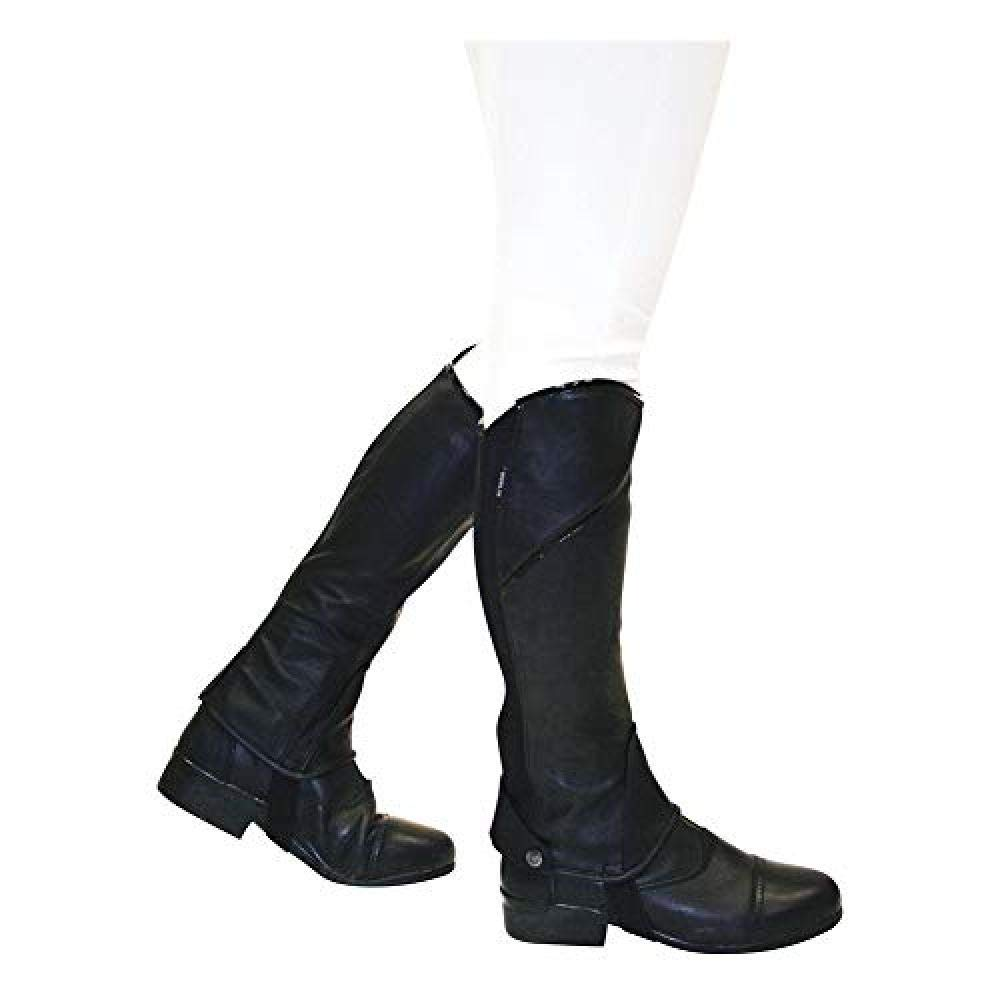 Dublin Childrens/Kids Stretch Fit Half Chaps (Childs Large) (Black/Patent Piping)