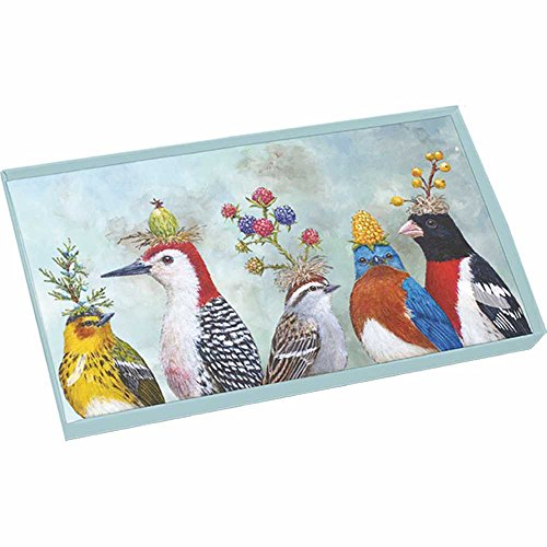 Bird Tray (Paperproducts Design 29039 Berry Festival Gift-Boxed Glass Plate, 10.5 x 6 x 1, Multicolor)