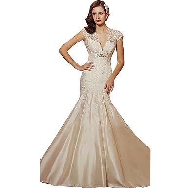 Dingdingmail Cap Sleeves Satin Mermaid Wedding Dresses For Bride