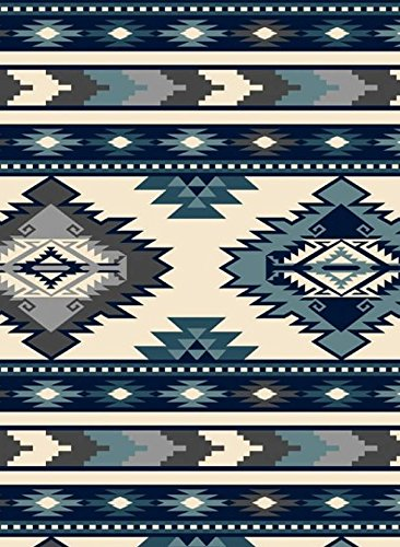 Southwest Stripe Navy Native American Fleece Fabric - 60