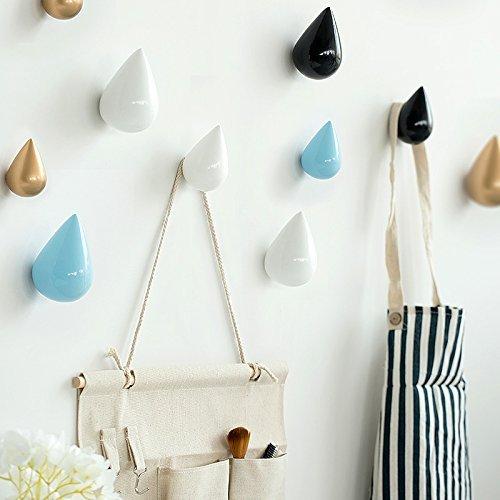 Vivona HN-48 Brief Water Drop Shaped Hook Wooden Decorative Wall Mounted Hanger Bedroom Bathroom Living Room Coat Hooks Hat Hangers Artistic Clothes Hooks - (Color: Pink, Size: L) by Vivona