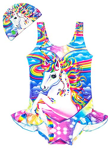 d8579f005a83a Arielno Girls One Piece Rainbow Unicorn Swimsuit Cherry Ice Cream Bathing  Suits