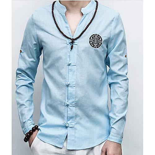 Estampado Para Hombres Lino Color En Bordado De Geométrico Sólido Iyfbxl Chinoiserie White Alto Plus Size Con Camisa Cuello nY7YwqS0