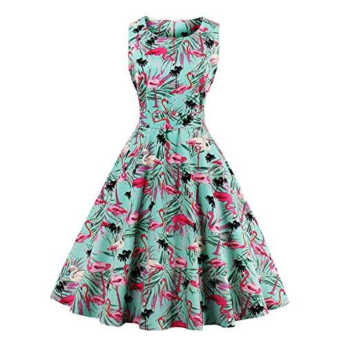 MinxilU 4XL Retro Dress 50s 60s flamingo Pattern NEW Party Dresses (50s Day Dress Up Ideas)