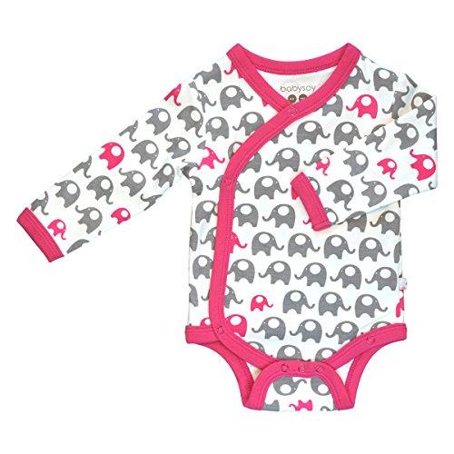 - Babysoy Organic Printed Kimono Bodysuit (18-24 Months, Elephant/Berry)
