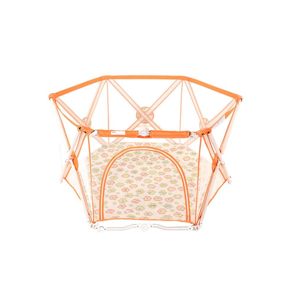 幼児用プレイペン、ドア折りたたみ多角形ベイビーヤードポータブルアンチロールオーバーアンチコリジョン通気性高速インストールフェンス (サイズ さいず : Hexagon) Hexagon  B07HBSF57M