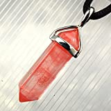 """Red Quartz Banded Hexagon Point : 1.18"""" (30mm) Red Pink Gemstone Pendant, Necklace 20-24"""" Adjustable"""