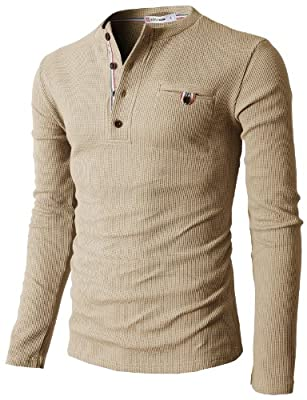 H2H Mens Casual Slim Fit Long Sleeve Henley T Shirts of Waffle Cotton