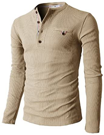 H2H Mens Casual Long Sleeve Basic Henley Shirt BEIGE US S/Asia M (KMTTL062)