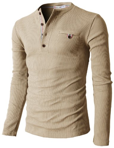 H2H Mens Casual Long Sleeve Raglan Baseball Crewneck Jersey Slim Fit T Shirt BEIGE US XL/Asia XXL (KMTTL062)